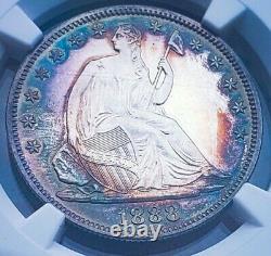 1888 Pf62 Seated Liberty Half Dollar Cameo/ Proof Gorgeous Rainbow Tough Date