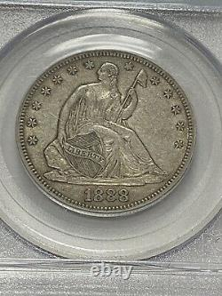 1888 Seated Liberty Silver Half Dollar 50c. Graded PCGS XF40, Nice White Coin