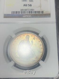 BEAUTIFUL TONED 1841 seated liberty half dollar au58 ##121