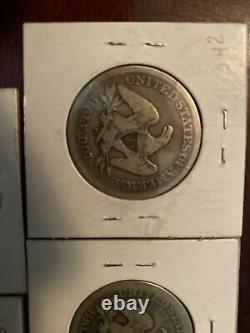 Lot of 5 US SEATED LIBERTY Half Dollars 1847-O, 1853, 1854-O, 1855-O, 1856-O