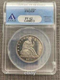 M13977- 1879 Proof Seated Liberty Half Dollar Anacs Pr62 Cameo