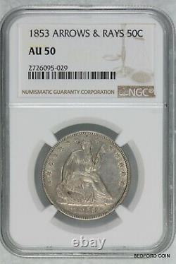 NGC AU50 1853 WITH ARROWS & RAYS SEATED LIBERTY SILVER HALF DOLLAR 50c (BC29)