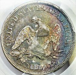 PCGS 1857 CAC toned Seated Liberty Half Dollar rainbow toning