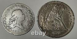 RARE 1795 Flowing Hair Half & 1842 Seated Liberty Silver One Dollar Coins