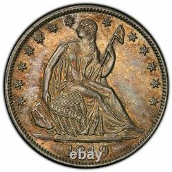 RARE 1849 Seated Liberty Half Dollar WB-9 Doubled Date PCGS AU58 TONED