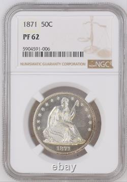Rare 1871 Seated Liberty Half Dollar Ngc Pr62 Only 960 Minted