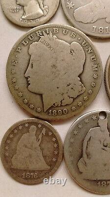 Silver lot 1890 o morgan peace dollar 1817 bust half seated quarter mercury dime
