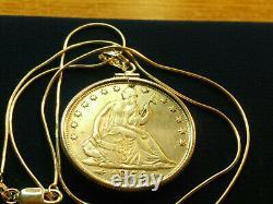 US MINTED RARE 1854 O Seated Liberty Silver Half Dollar Pendant ITALIAN Chain