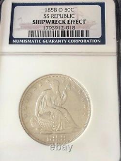 Wow 1858-o, U. S. Silver Liberty Seated Half Dollar, 1865 Ss. Republic Shipwreck