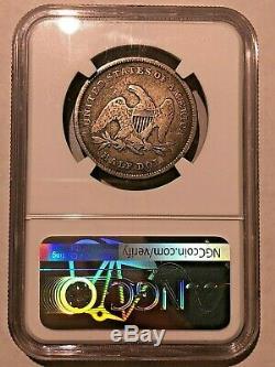1839 Avec Draperie Liberty Assis Demi Dollar Ngc Vg10 Belle