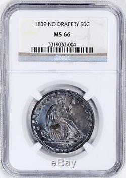 1839 Liberté Assise 50c Ngc Ms 66