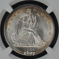 1839 No No Drapery Seated Liberty Half Dollar 50c Ngc Ms65