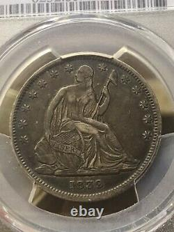 1839 Seated Liberty Demi-dollar Pcgs Vf-35 Drapery1ère Année Belle Tonification