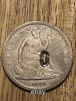 1839 Seated Liberty Half Dollar 50c Silver Chop Marque