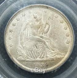 1839 (avec Draperie) Assis Liberté Demi-dollar Pcgs Au50 Mislabeled Titulaire