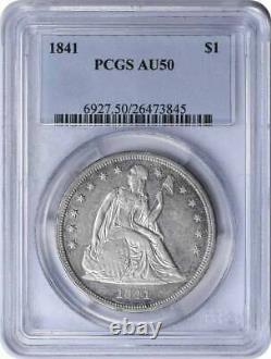 1841 Liberty Assis Argent Demi-dollar Au50 Pcgs