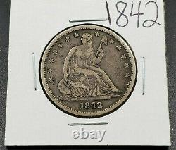 1842 Seated Liberty Argent Demi-dollar Choix Vf Very Fine Nice Medium Date