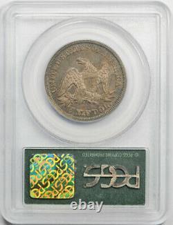 1843 50c Seated Liberty Demi-dollar Pcgs Au 55 À Propos De L'ogh Non Circulé Toned N