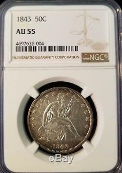 1843 Assis Liberté Demi-dollar 50c Ngc Au Début 55 Date De Haut Grade Seated Moitié