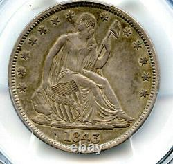 1843 Liberty Assis Demi-dollar Pcgs Xf45