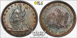 1843 O Seated Liberty Demi Dollar Pcgs Au 55 Belle Tonification