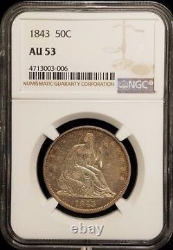1843 Seated Liberty Demi-dollar 50c Ngc Au 53