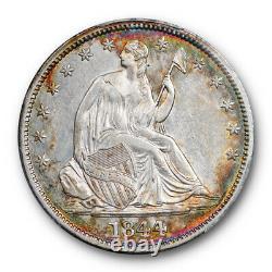 1844 50c Assis Liberté Demi-dollar Pcgs Au 58 Wb 10 Rpd Variété Pop 1