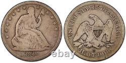1844-o Double Date Assis Liberté 50c Pcgs Vg08 Très Original Presque Fin