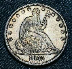 1845 O Seated Liberty Demi Dollar 50c Wb 106 Tripled Date Argent Us Coin Cc6000