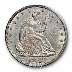 1847 50c Assis Liberté Demi-dollar Pcgs Au 55 À Propos Ongecirculeerd Lustrous