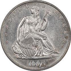 1848-o Liberté Assis Demi Dollar Gpc Au-50 Flashy