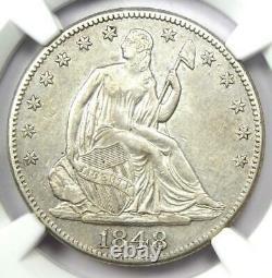 1848-o Seated Liberty Half Dollar 50c Certifié Ngc Au Detail Rare Date Pièce