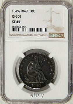 1849/1849 50c Ngc Xf 45 Fs-301 Dramatique Assis Liberty Demi Dollar Rpd Variété