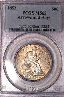 1853 50c Flèches Et Rays Liberté Assis Half Dollar Pcgs Ms62
