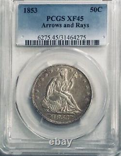 1853 Arrows & Rays Seated Liberty Moitié, Pcgs Xf45 Belle Pièce