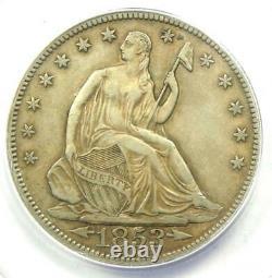 1853 Arrows & Rays Sièged Liberty Half Dollar 50c Anacs Xf40 Rare Date Pièce