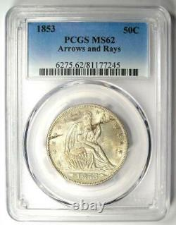 1853 Arrows Seated Liberty Half Dollar 50c Pcgs Ms62 (bu Unc) 2 250 $ Valeur