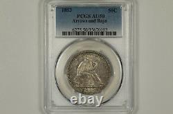 1853 Assis Liberté Demi-dollar Flèches Et Rays Pcgs Au50