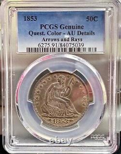 1853 Assis Liberty Demi Dollar Arrows & Rays Pcgs Détails Unc