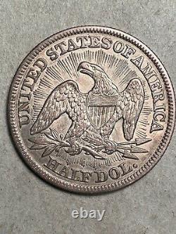 1853 Flèches Et Rayons Sièges Liberté Argent Demi-dollar Au+