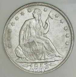 1853 Liberté Assise Moitié 50c Ss République Flèches Et Rayons Ngc 941248-2