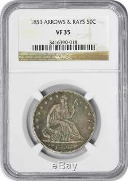 1853 Liberté Seated Demi-dollar, Flèches Et Rays, Vf35, Ngc
