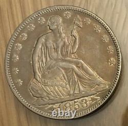 1853 Liberty Assis Argent Demi-dollar Avec Flèches Et Rayons Au