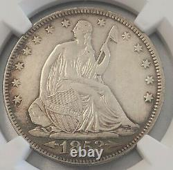 1853 Libre Assise Demi-dollar Flèches Rayons Ngc Xf Nettoyé