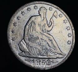 1853 Seated Liberty Half Dollar 50c Arrows Rays Argent Non Classé Us Coin Cc8513