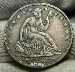 1853-o Assis Liberté Demi-dollar 50 Cents, Nice Coin, Livraison Gratuite (9124)