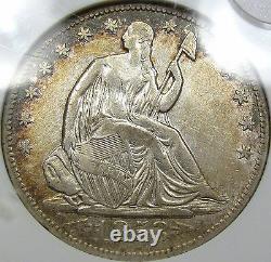 1853-o Flèches Et Rayons Assis Liberté Demi-dollar Anacs Au Détails. Belle Pièce De Monnaie