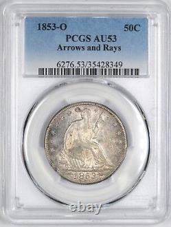 1853-o Flèches & Rays Liberté Assis Argent Demi-dollar 50c Pcgs Au53