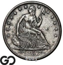1853-o Seated Liberty Half Dollar, Arrows & Rays, Scarce Choice Au Key Date