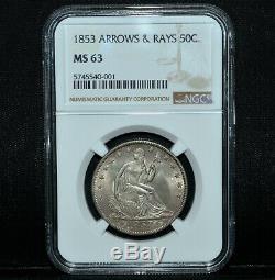 1853-p En Position Assise Liberté Demi-dollar Mbac Ms-63 50c Flèches & Rays L @@ K Partenaire De Confiance